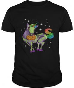 Unicorn Skeleton Halloween pumpkin shirt