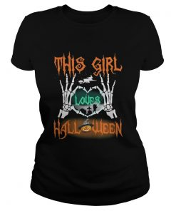 Ladies tee This girl loves Halloween shirt