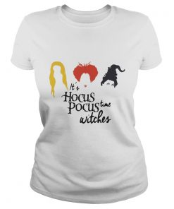 Ladies Tee It's hocus pocus time witches Halloween shirt