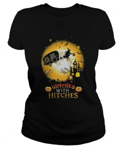 Ladies Tee Witches with hitches camping Halloween shirt
