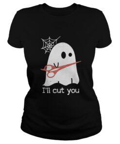 Ladies Tee Halloween Boos Ghost I'll cut you shirt