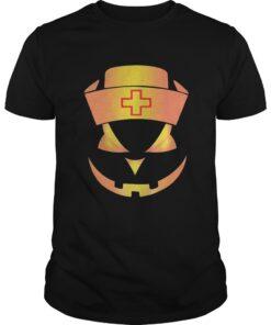 Guys Halloween Nurse Pumpkin Face shirt