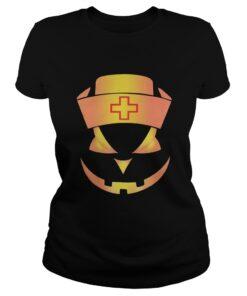 Ladies Tee Halloween Nurse Pumpkin Face shirt