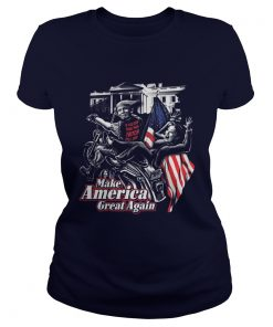 Ladies Tee Biker life USA Trump's bitch fell off shirt