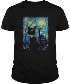 Guys Witch Cat In Starry Night shirt