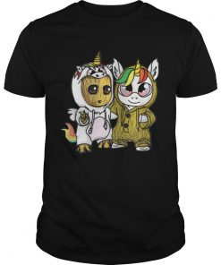 Guys Unicorn and Baby Groot shirt