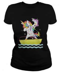 Ladies Tee Fishing Unicorn Dabbing shirt