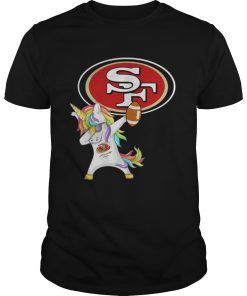 Guys San Francisco 49ers Football Unicorn Dabbing shirt