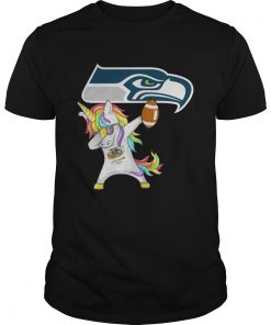 Guys Seattle Seahawks Football Unicorn Dabbing shirt