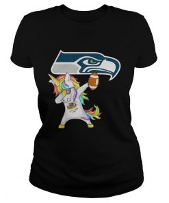 Ladies Tee Seattle Seahawks Football Unicorn Dabbing shirt