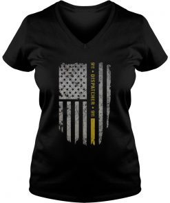 911 Dispatcher thin gold line USA flag ladies v-neck