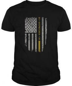 911 Dispatcher thin gold line USA flag shirt