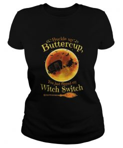 Halloween Camping buckle up buttercup you just flipped ladies tee