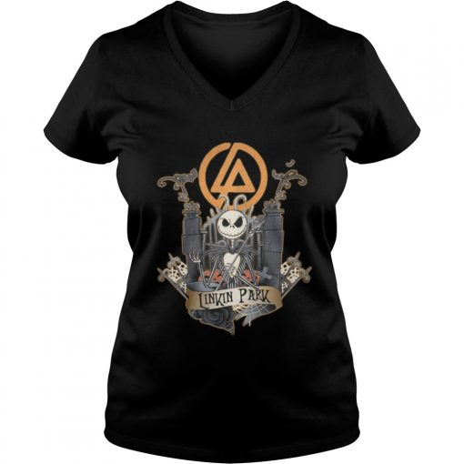 Halloween Jack Skellington Linkin Park ladies v-neck