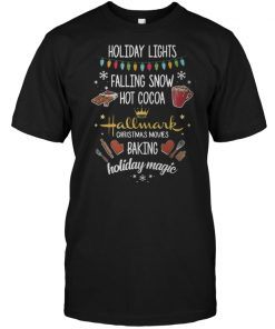 Holiday lights falling snow hot cocoa Hallmark Christmas sweater