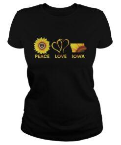 Peace Love Iowa Sunflower ladies tee