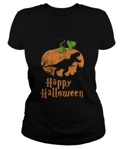 Pumpkin T-rex Happy Halloween ladies tee