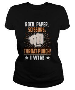 Rock paper scissors throat punch I win ladies tee