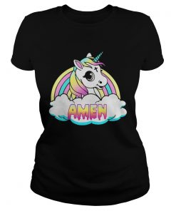 Unicorn Amen Rainbow ladies tee