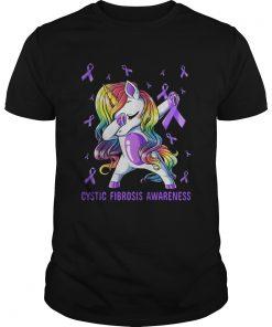Unicorn dabbing cystic fibrosis awareness breast cancer shirt