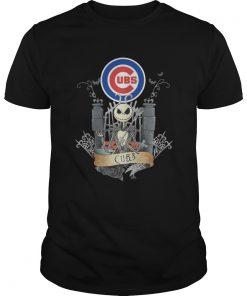 Guys Jack Skellington Chicago Cubs halloween shirt