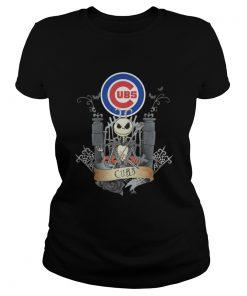 Ladies Tee Jack Skellington Chicago Cubs halloween shirt
