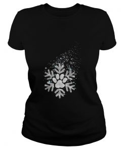Ladies tee Paw dog snowflake shirt
