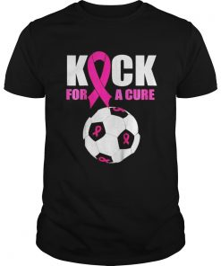 Guys Kids Pink Ribbon Soccer Ball T Shirt
