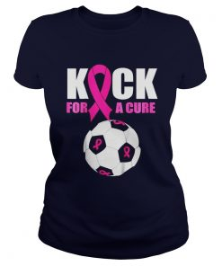 Ladies Tee Kids Pink Ribbon Soccer Ball T Shirt