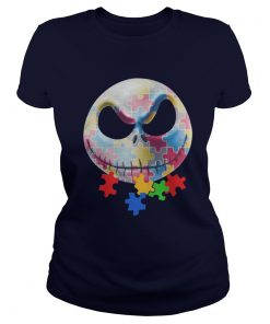 Autism Jack Skellington Face Ladies Tee