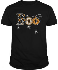 Boo Halloween TShirt With Spiders And Witch Hat Guys
