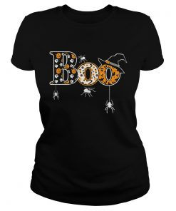 Boo Halloween TShirt With Spiders And Witch Hat Ladies Tee