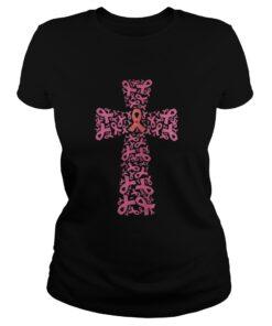 Breast Cancer Ribbon Cross Ladies Tee
