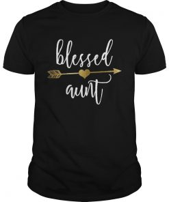 Cute Gold Arrow Blessed Aunt Shirt Thanksgiving classic guys