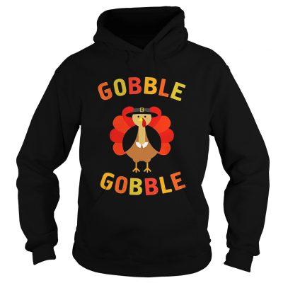 Gobble Gobble Turkey Pilgrim Cute Thanksgiving Hoodie