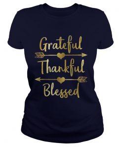Gold Grateful Thankful Blessed Thanksgiving Ladies Tee