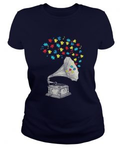 Gramophone Music Autism Awareness Ladies Tee