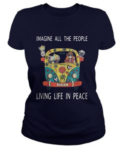 Hippie car imagine all the people living life in peace Ladies Tee