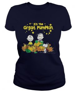Snoopy and Charlie Brown It's the great Pumpkin Peanuts halloween Ladies Tee