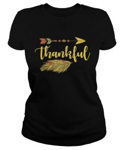 Thankful Arrow Feather Thanksgiving Ladies Tee
