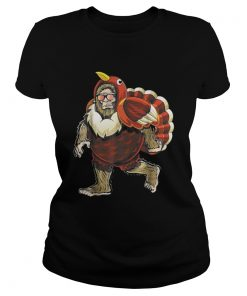 Bigfoot Turkey Thanksgiving Ladies Tee