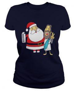 Eggnog Santa And Jesus Christmas Ladies Tee