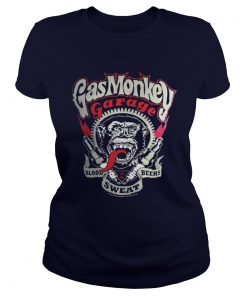 Gas Monkey Garage Spark Plugs Blood Sweat Beers Licensed Black Mens Ladies Tee