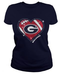 Georgia Bulldogs football diamond heart ladies tee