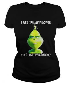 Grinch I see dumb people they are everywhere Christmas Ladies Tee
