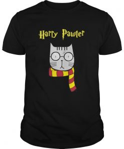 Guys Harry Pawter cat with glasses shirt