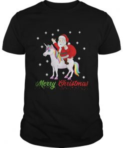 Guys Merry Christmas Santa Claus Riding A Unicorn Shirt