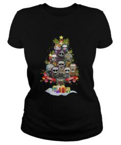 Horror Characters christmas tree Ladies Tee