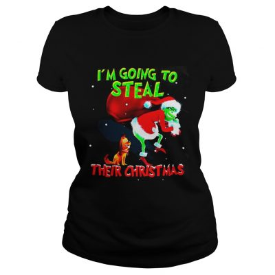 Ladies Tee Grinch Santa and Max I'm going to steal their christmas shirt