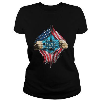 Ladies Tee Inside America Notre Dame Fighting Irish shirt